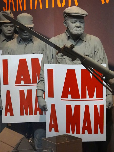 This display from the National Civil Rights Museum in Memphis  illustrates the fact that strikes have been brought about because of issues related to worker treatment and not merely pay.