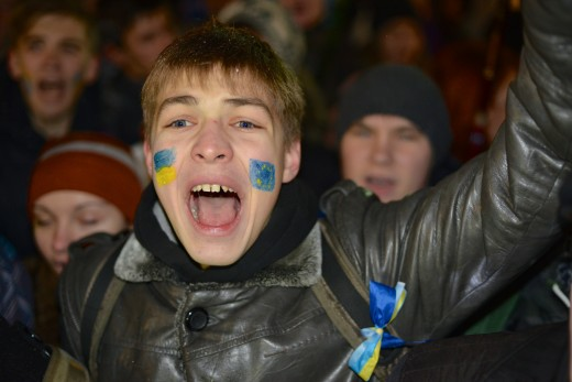 Protesters at the Euromaidan 2013, almost kids