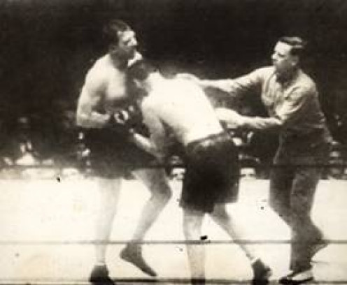 Jack Dempsey, right, endured horrendous punishment before finally catching and finishing off Jack Sharkey.