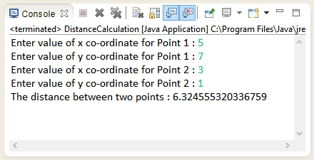 Output of the program - How to calculate distance between two given points in Java.