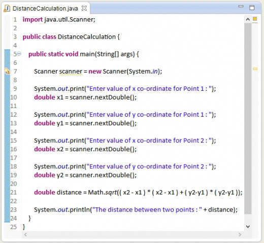 Java source code - How to calculate distance between two given points in Java.