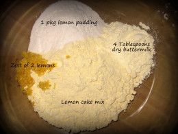 2. Mix the dry ingredients (zest, dry buttermilk powder, pudding, and cake mix) together in a large bowl.