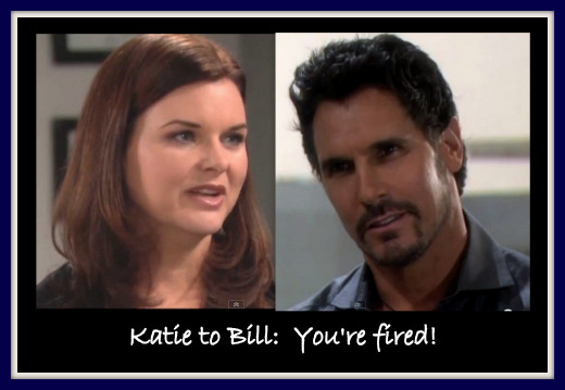 When Katie leaarned about Bill and Brooke's affair, she got mad, and even....