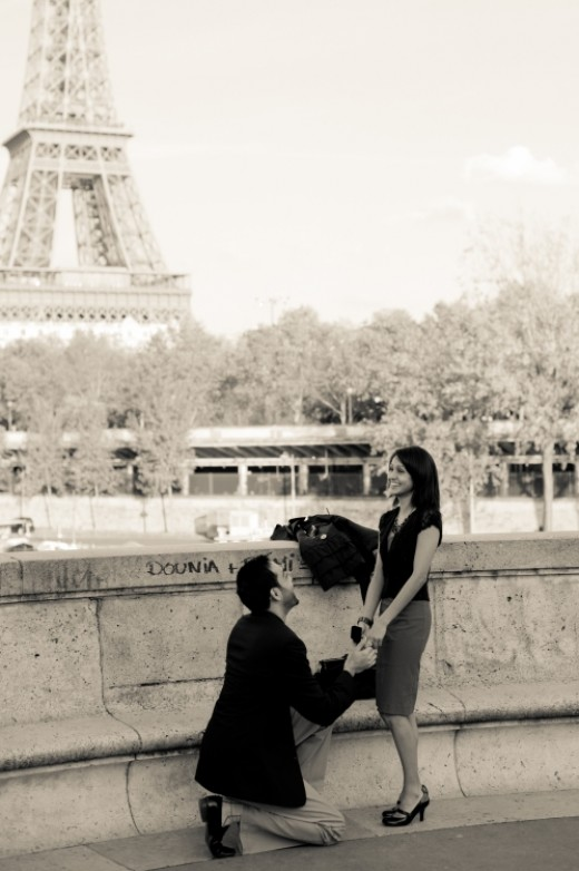 A caption of a proposal in action in front of the Eiffel Tower - As beautiful as this looks, professional wedding planners label this as a cliche as many people have 'been there, done that'.