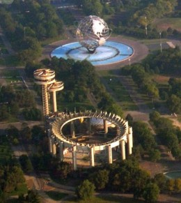 This is all that is left of the 1964/65 World's Fair,  the NY Pavilion (in disrepair)  and Unisphere.