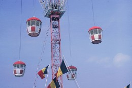 """The Swiss International Pavilion supplied these """"pods"""" (gondolas) for seeing a 'bird's eye view' of the fair."""