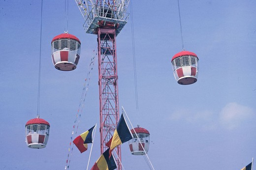 "The Swiss International Pavilion supplied these ""pods"" (gondolas) for seeing a 'bird's eye view' of the fair."
