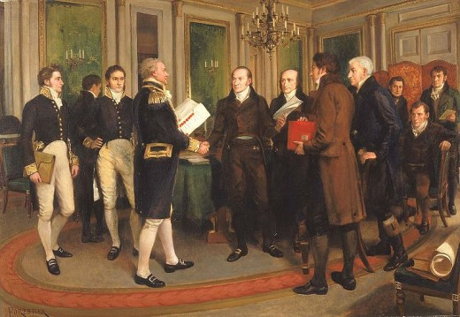 Painting of the signing of the Treaty of Ghent, on Christmas Eve, 1814, ending the War of 1812.