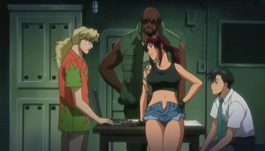 The four main cast members. Benny, Dutch, Revy, and Rock.