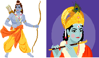 Rama (Left) and Krishna (Right)