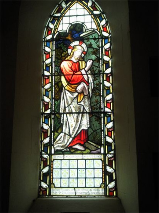 Beautiful stained glass window in the Church.