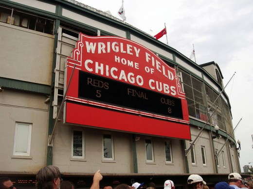 Sign outside Wrigley Field ballpark