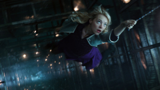Gwen Stacy (Stone) during the final battle with the Green Goblin. Wearing almost the exact outfit that she wore at the time of her death in the comic.