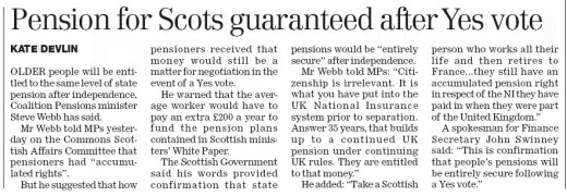 The Herald printed Scottish Pensions Guaranteed, but with a negative spin