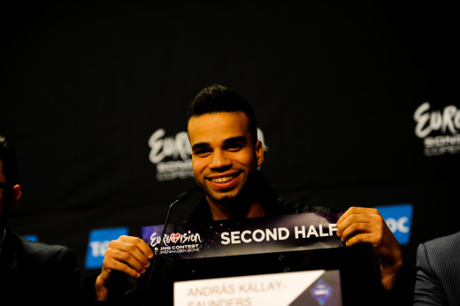András Kállay-Saunders at the after First-Semi-Final Winners Press Conference