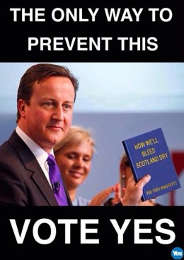 David Cameron holding Tory manifesto to 'bleed Scotland dry'