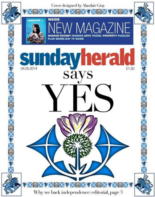 Sunday Herald, first Scottish paper to come out FOR independence