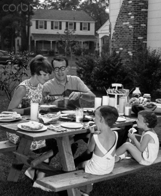 A 60's family barbecue. Yeah, man. Far out. Dad looks so mellow and mom so pretty and the kids all well-behaved. This is suburbia. Not the inner-city America.