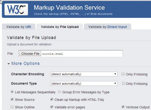 "The startup screen for the validator. You can choose to validate a URI, a file you would upload, or direct ""cut and paste"" input."