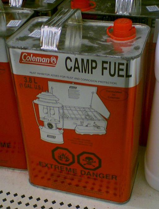 The bigger guy pulled an entire 1 gallon can of Coleman Fuel out of the top compartment of his pack.