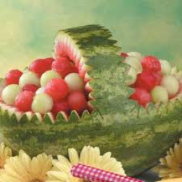 Watermelon baskets are popular for weddings and make a really nice addition to the reception.