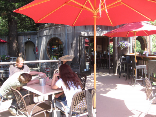Outdoor seating at the cafe.