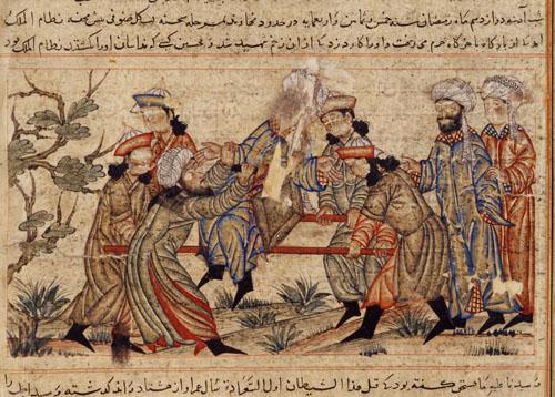 14th-century painting of the assassination of Nizam al-Mulk by a hashshashin.