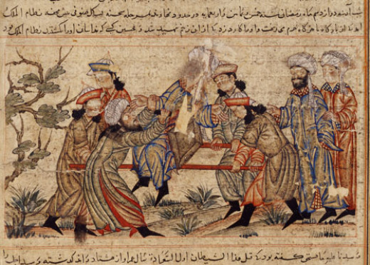14th-century painting of the assassination of Nizam al-Mulk by a hashshashin.