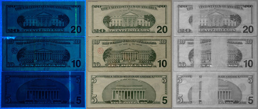 U.S. currency seen under UV light (left), visible light (middle), and IR light (right).