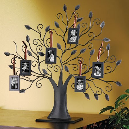 Bronze Family Tree Picture Frame with 6 Hanging Photo Frames