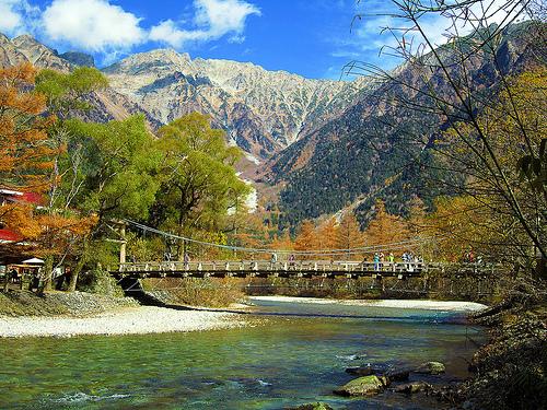 A bridge on a walking trail in Kamikochi, a remote mountainous region in the Nagano Prefecture.
