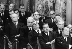 French ministers sleep during one of then-French Prime Minster, Charles De Gaulle's lengthy speeches