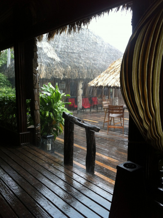 Morning drizzle outside Morgan's restaurant.