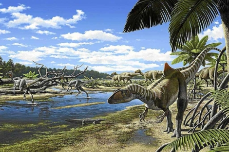 Early Cretaceous Cuenca as depicted by Raul Martin. A Concavenator stands on the far right, while a small crocodylomorph, two Pelecanimimus, and a herd of iguanodonts all inhabit the background.