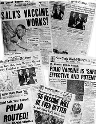 Front pages celebrate: Salk vaccine success