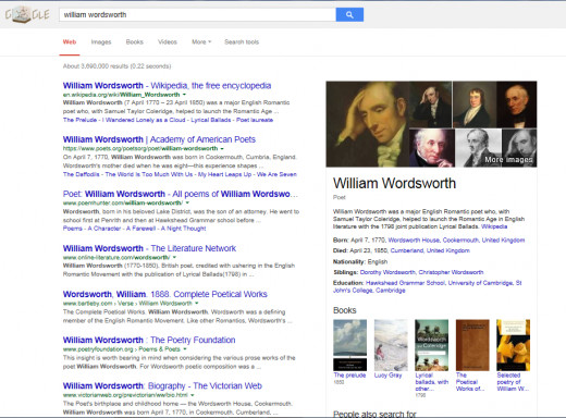 "Historical figures such as the poet, William Wordsworth (poet famous for ""Daffodils"") also display their biography."