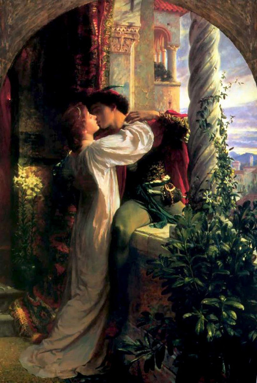 "Frank Dicksee, ""Representing the famous balcony scene from Romeo and Juliet,"" ca. 1884, oil on canvas, 45.5 x 65.5 in, Southampton City Art Gallery, Southampton, England."