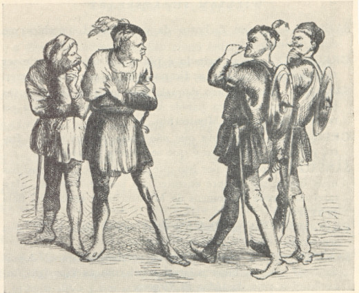 Artist unknown. Act I, Scene I: Capulets, including Tybalt, confront Montagues, ca. 1873.