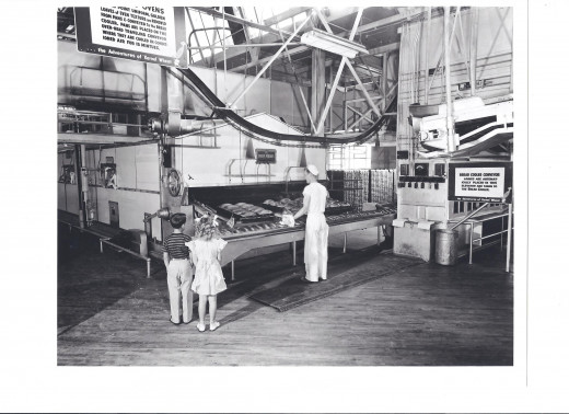 Historical photo inside of the Helms Bakeries.