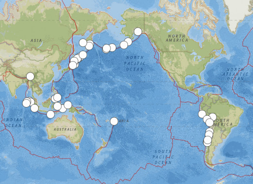 8.2 magnitude or greater earthquakes worldwide from 1906 through April 2014.