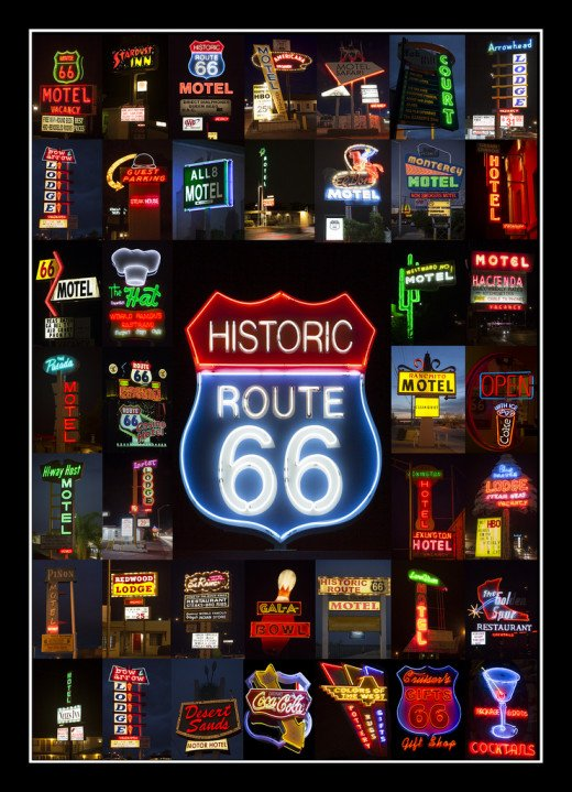 A collage of neon signage collected from various places on the historic route 66