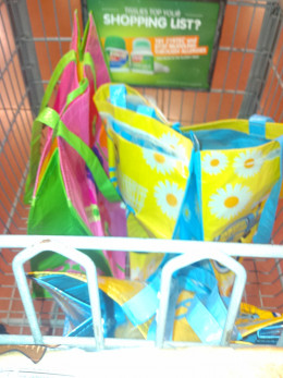 Begin by placing three large reusable bags in your grocery cart.