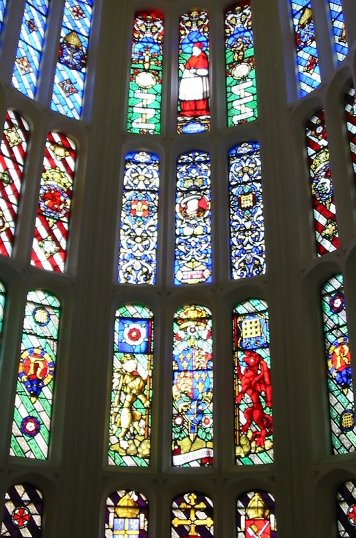 The chapel window at Hampton Court.Henry the eighth prayed here while his young condemned wife Catherine Howard screamed for his help/