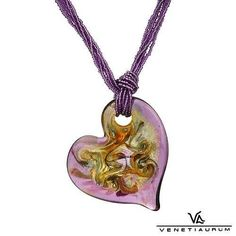 Lavender Murano glass gold heart crafted by Venetiaurum