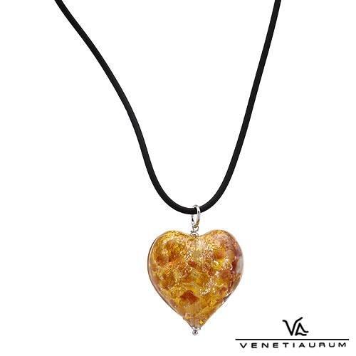 Murano glass gold heart crafted by Venetiaurum