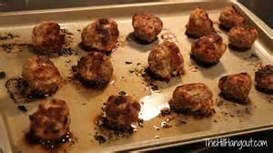 Meatballs baking in oven