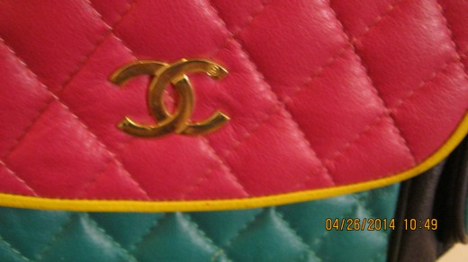 Multicolored Chanel purse bought at a thrift store.