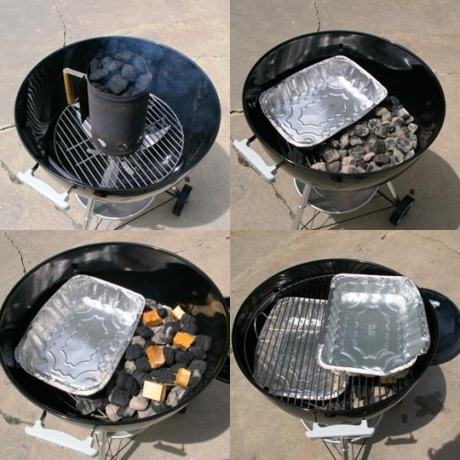 Grill set up for smoking.