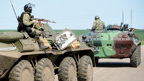 Russian troops on the move in Ukraine.