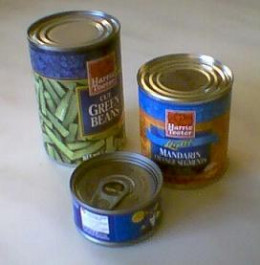 Tin cans of varying sizes